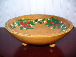 Footed Wood Bowl Handpainted Strawberry Motif photo