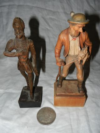 Two Vintage Wood Carvings Gilbert Sipes From Gordy & Don Quixote photo