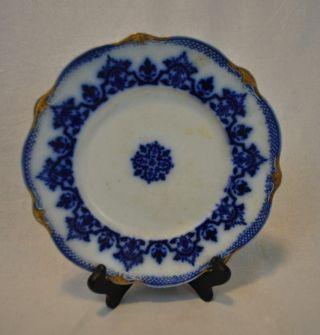 Flow Blue Plate Gilt 8.  5