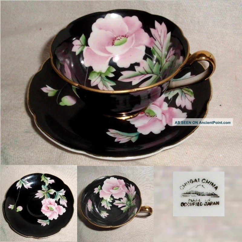 60yr Chugai China Occupied Japan Black With Pink Floral Cup