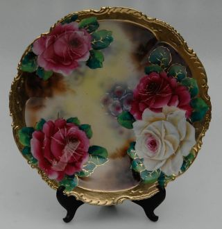 Antique Shallow Bowl Tray Platter Porcelain Hand Painted Vibrant Roses 12