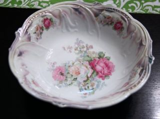 Antique Bavaria Large Bowl With Roses 10.  5