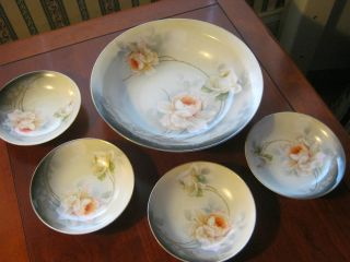 Antique Porcelain Berry Bowl Set - Made In Rs Germany photo