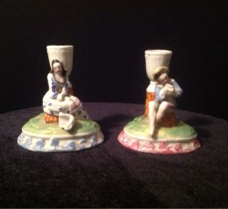 Victorian Porcelain Figural Pair Of Candle Holders photo