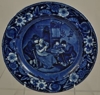 Clews Dark Blue Staffordshire Plate Christmas Eve From Wilkie ' S Designs photo