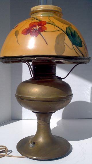 Antique Miller New Vestal Converted Oil Lamp W Orange Floral Glass Shade - Works photo
