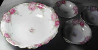 Antique Dessert Ice Cream Bowl W/ Small Serving Bowls By Louvre Bavaria 6 Pc photo