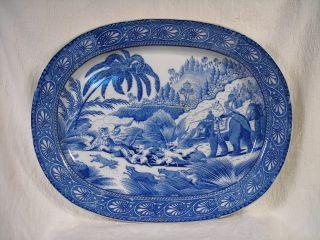 Rare Antique 1817 English Blue & White Platter