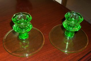 Glass Candle Stick Holder - Vaseline Glass photo