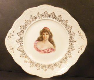 Antique Porcelain Portrait Plate Platter W/ Woman Gilt Trim photo
