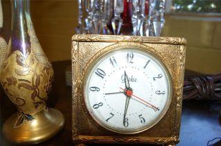 Globe Vintage Vanity Clock Gold Plate Works photo