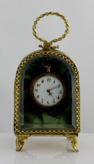 Antique French Ormolu Ladies Pocket Watch Holder 1880 photo
