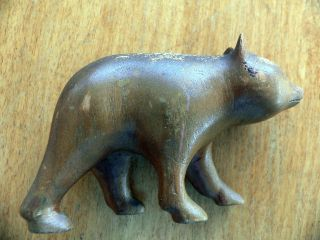Vintage Wooden Carved Bear 4 Inches Long photo