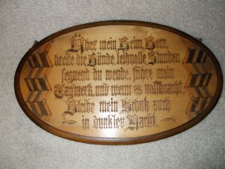 Unusual Antique Handcarved Wooden Wallhanging With A German Prayer photo