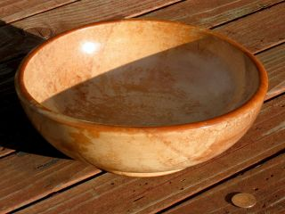Primitive Turned Wooden Mixing Bowl Kitchen Ware Lacquered Finish Japan 10 Inch photo