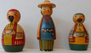 Hand Painted Soviet Era Russia,  Russian Wooden Dolls,  3 photo