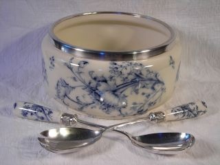 Antique 1890 Carltonware Blue & White Porcelain Bowl W/ Matching Serving Spoons photo