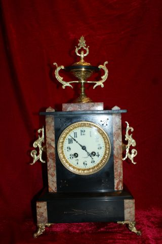 Antique Marble Mantle Clock - 1900 France photo