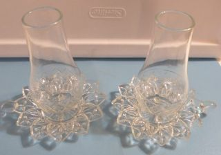 Vtg Clear Cut Glass Hand Held Candle Stick Holders W / Matching Hurricane Globes photo