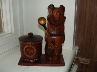 Russian Soviet Russia Wooden Hand Carved Bear Figurine photo