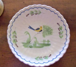19th C.  French Faience Large Bird Bowl / Saladier photo