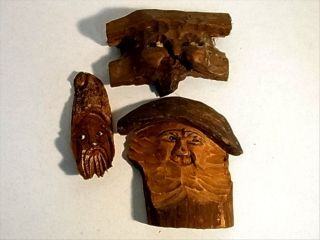 3 Rare Antique Mountain Gnome Troll Wall Mask Germany Carved Wood 1900/30 photo