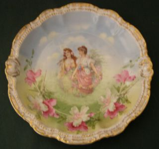 Bavarian Cabinet Plate Girls With Roses,  Hibiscus photo