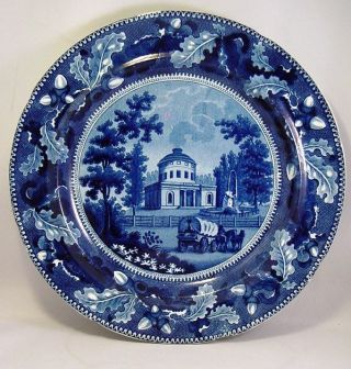 19th C Staffordshire Historical Blue Plate Water Works Philadelphia By R.  S.  W.  Nr photo