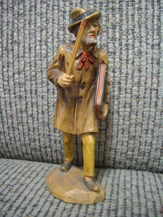 Schmid - Linder Switzerland Handcarved Wood Artist Painter Man Figurine 5000 photo