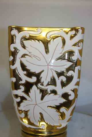 Old Paris Apartment Gold Gilt White Porcelain Vase Large Made In Italy 8