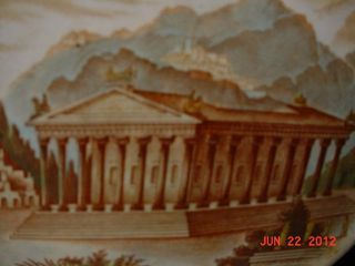 Grand Tour Temple Diana @ Ephesus Polychrome Transferware Copeland Trivet 1880s photo