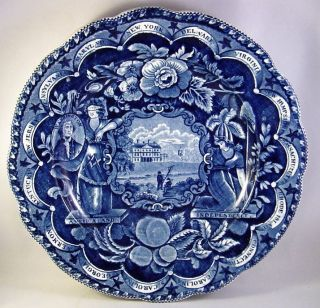 19thc Clews Staffordshire 15 States Historical Blue Rim Soup Or Deep Plate Nr photo