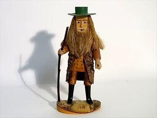 Country Man Figurine Oberammergau Bavaria Germany Folk Art Wood 30/50s photo