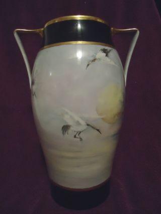Tressemann & Vogt (t & V) Limoges Vase W/storks Lake Scene 12 5/8