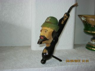 Vintage German Hand Painted And Carved Wooden Pipe.  Est Circa 1940+ photo