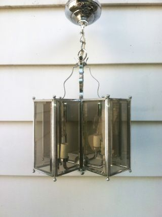 Vintage Chrome Mid - Century Hanging Chandelier With Beveled Glass Panes photo