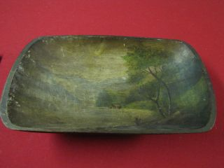 19th Century Antique Painted Wooden Dough Bowl,  Trencher - 17 - 3/4 Upstate Ny photo