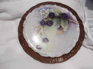 Blackberries Hand Painted On Very Old Plate - Lovely Colors photo