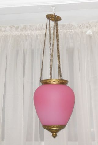 Awesome Large Victorian Pink Satin Glass (consolidated?) Hanging Candle Lamp photo