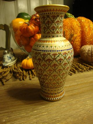 Stunning Hard Paste Porcelain Benjarong Porcelain Vase Jeweled Enameled Nr photo