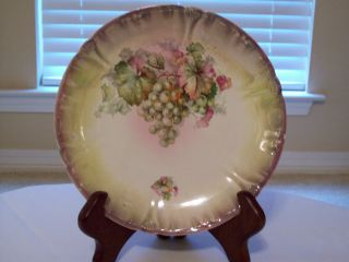 Antique Bonn Franz Ant Mehlem Plate With Green Grapes And Leaves photo