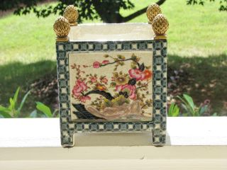 Porcelain Decorated Vase With Brass Corners photo