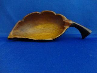 1971 Bahamas Carved Leaf Wood Bowl Mid Century Retro Tiki Bar photo