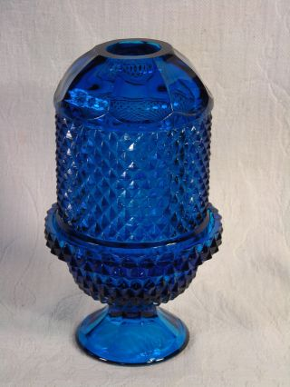 Antique Late 19th C.  Lg.  2 Piece Teal Blue Glass Fairy Candle Lamp Nonhanging photo