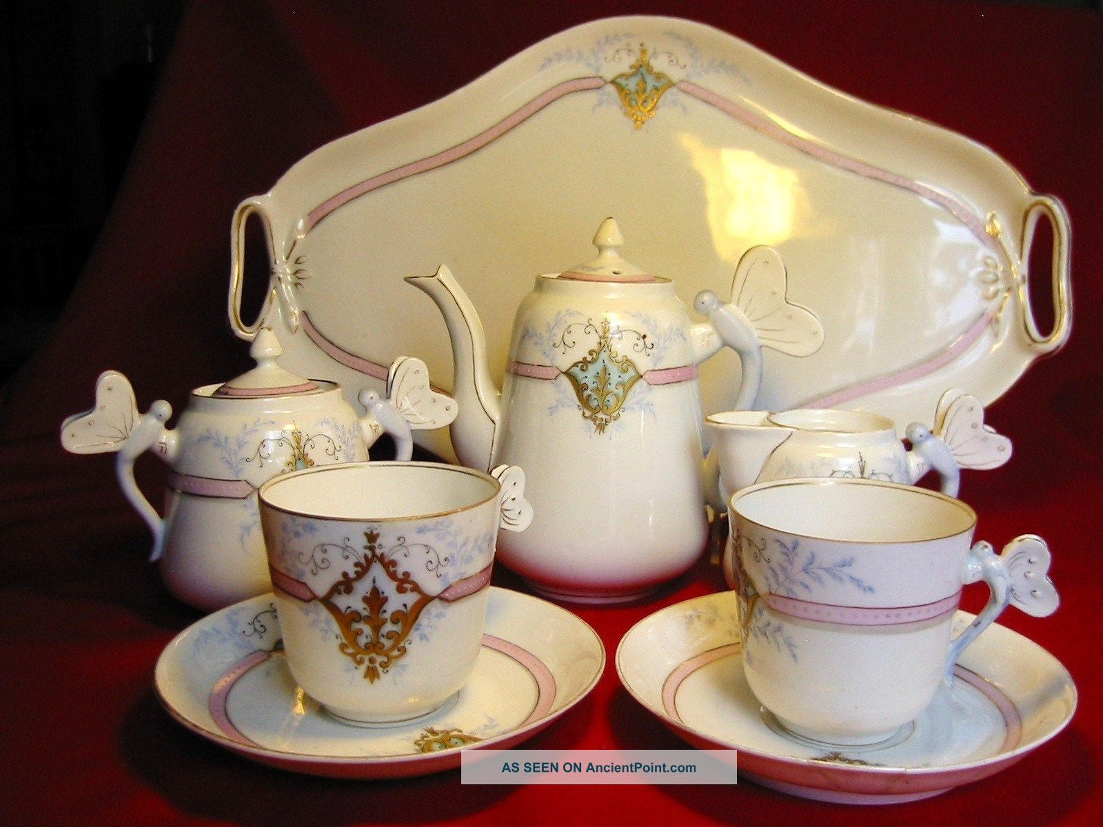 Antiq Russian 19c Tête - à - Tête Porcelain Set Tea For Two