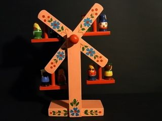Rare Toy Ferris Wheel Erzgebirge Germany Hand Painted Wood Folk Art 40/50s photo