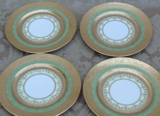 Antique French Porcelain Limoges Gold Incrusted Green Plates 4 photo