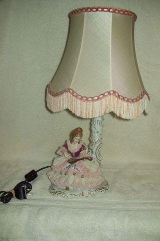 Vintage Dresden Porcelain Lamp Signed Elegant Lady In Lace Rare Germany photo