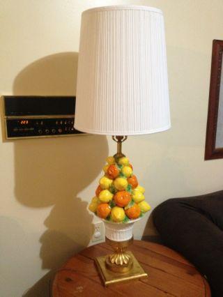 Vtg Retro Ceramic Lemon Orange Lamp 60 ' S Mid Century Modern Figural Fruit Basket photo