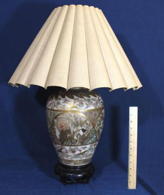 Large 19thc Antique Hand Painted Japanese Royal Satsuma Pottery Vase Lamp Nr photo